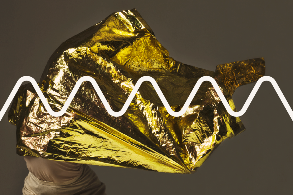 Dancer holding gold foil with Big Pulse signature line imposted over