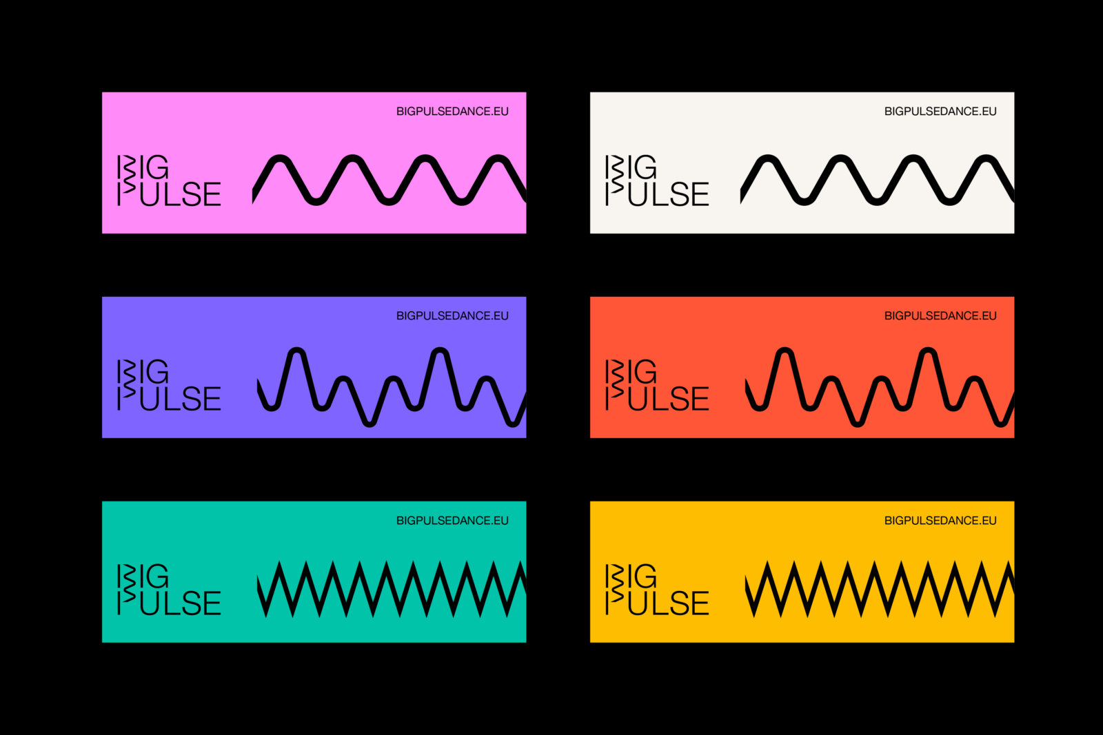 Big Pulse logo and signature lines in various colours