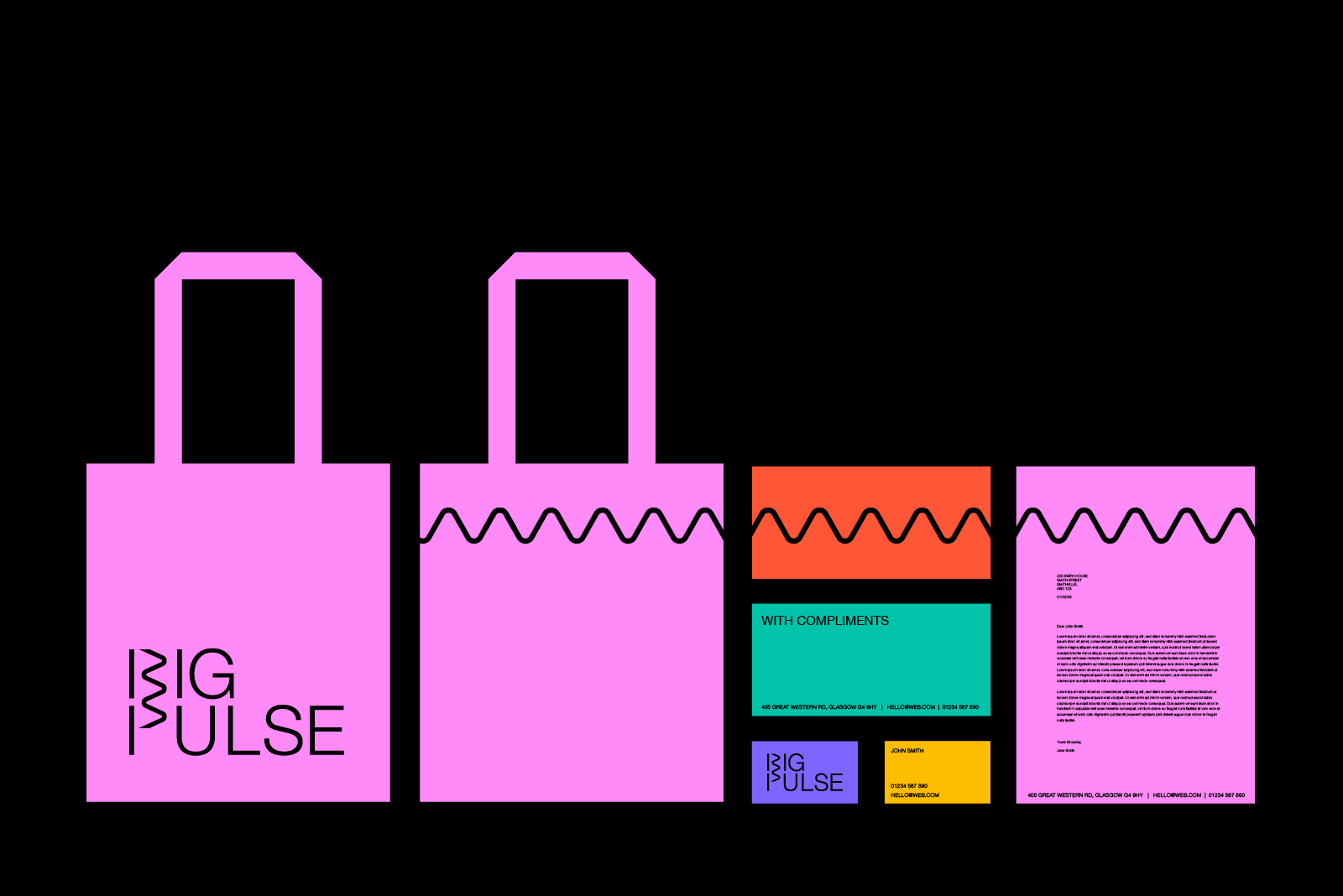 Big Pulse logo and signature line on merchandise and stationary