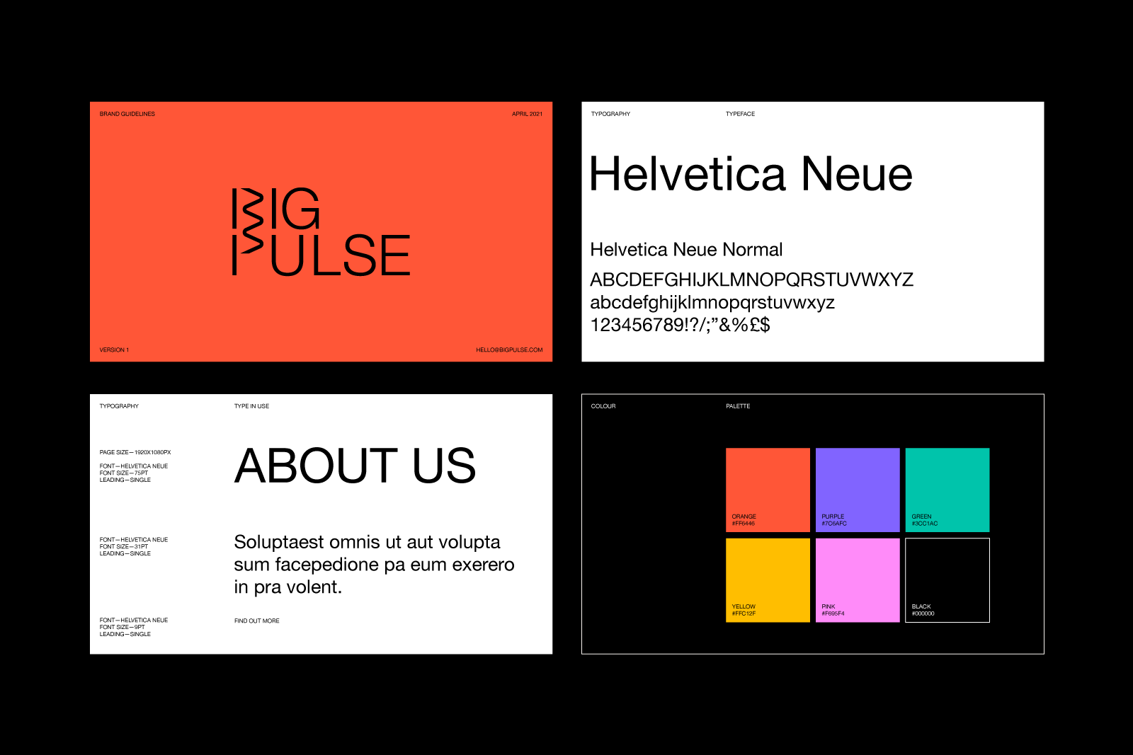 Details of colour and typeface used for Big Pulse rebrand